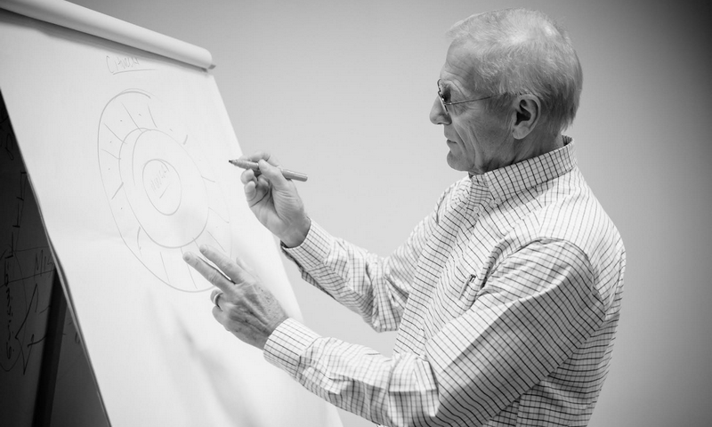 Jerry Twombly using flip chart